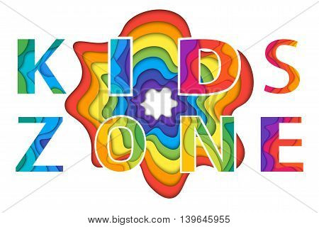 Kids Zone with rainbow blot. Colorful vector illustration for playground child or day care isolated on white background.