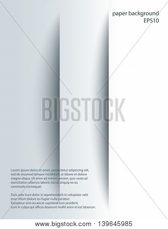 Two vertical Cuts in paper with shades. Vector abstract background. 3d incision.