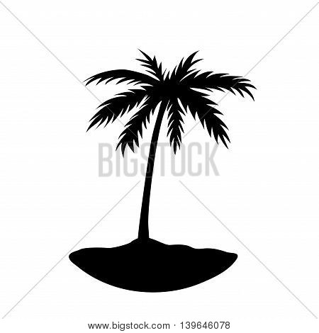 One palm tree on island. Black coconut tree silhouette isolated on white background. Symbol tropical nature beach summer holiday travel. Floral exotic landscape. Natural design. Vector illustration