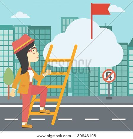 An asian young business woman climbing up the ladder to get the red flag on the top of the cloud on a city background. Vector flat design illustration. Square layout.