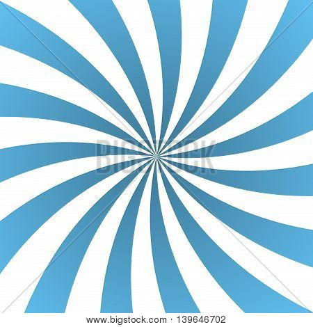 Blue rays poster. Popular ray star burst background television vintage. Light-blue and white abstract texture with sunburst flare beam. Retro art design. Glow bright pattern. Vector Illustration
