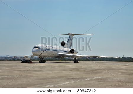 Gelendzhik Russia - September 10 2010: Tupolev Tu-154M passenger plane being prepared for the flight in the airport