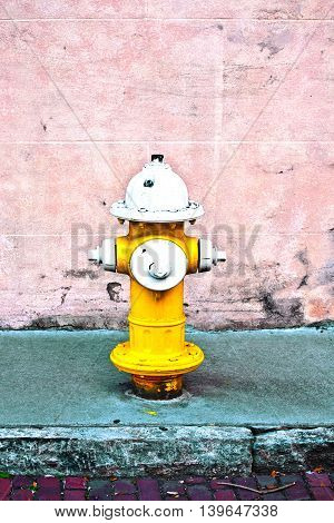 yellow fire hydrant in America on green painted sidewalk