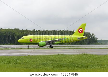 MOSCOW, RUSSIA - MAY 19, 2016: S7 airlines Airbus A319 taxiing. Plane makes taxiing on taxiway Domodedovo International Airport.