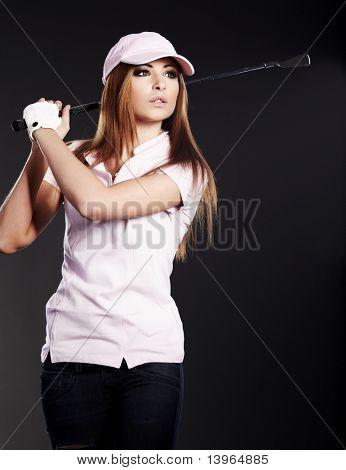 Golf Player Woman. studio  shot
