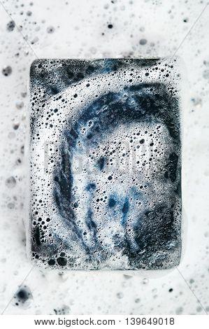 Close-up Of Black Coal Soap Bar