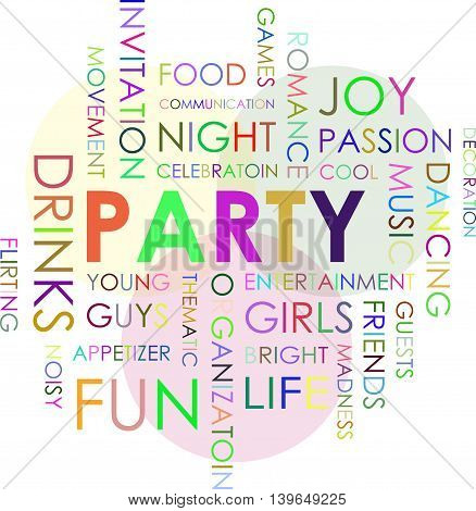 The inscription party. Association to the word party. Colored words and letters.