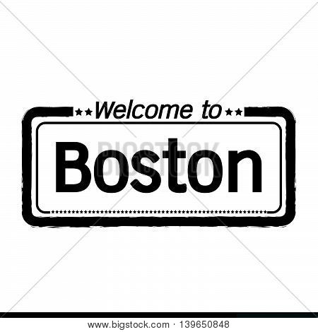 an images of Welcome to Boston City illustration design