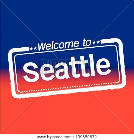 an images of Welcome to Seattle City illustration design