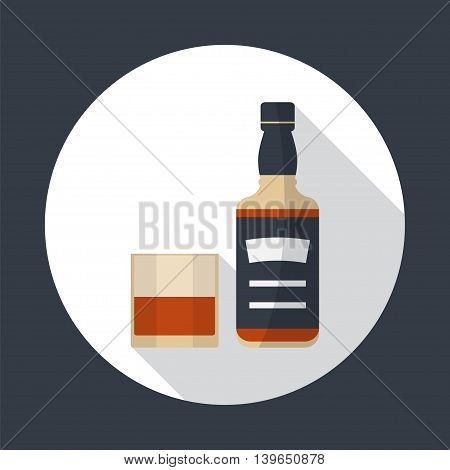 Whiskey bottle and glass of whiskey round flat icon with long shadows. Serving alcohol. Simple flat vector.