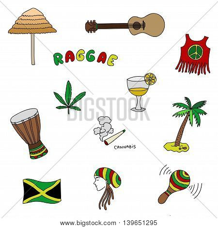 Jamaica set or pattern with Rasta elements, vector