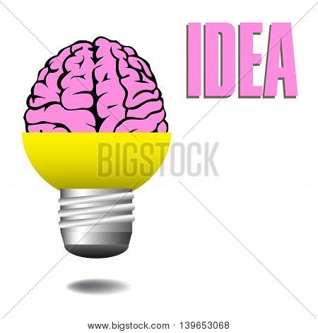 Abstract colorful background with a pink brain coming out from a light bulb. Idea concept