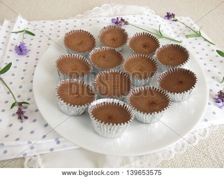 Homemade ice chocolate with cocoa powder, powdered sugar and coconut oil in aluminum mini cups