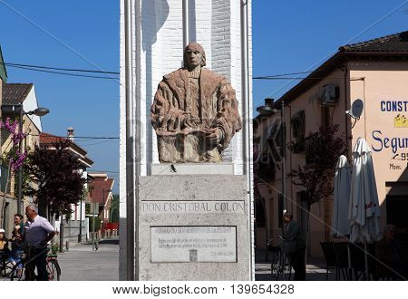 Santa Fe, Andalucia, Spain - April 13, 2014 - Monument to Christopher Columbus discovered America in Europe April 13, 2014 in Santa Fe, Andalucia, Spain