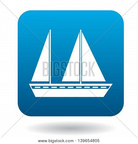 Sailing vessel with two masts icon in flat style on a white background