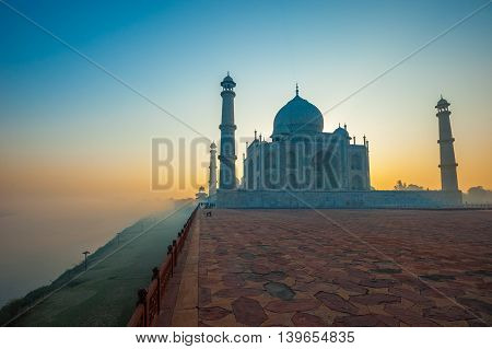 Taj Mahal at sunrise Agra Uttar Prdesh India