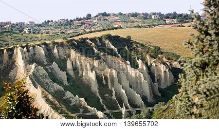 The Badlands in the sandstone in Chieti province (Italy)