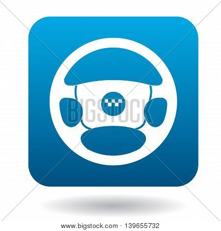Steering wheel of taxi car icon in flat style on a white background