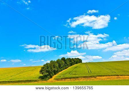 rural landscape with fields in Bavaria under blue sky