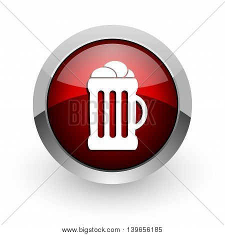 beer red circle web glossy icon on white background