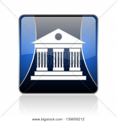 Museum Blue Square Web Glossy Icon