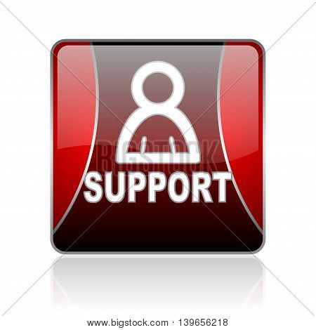 Support Red Square Web Glossy Icon