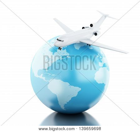 3D Illustration. Airplane flying around globe. Travel concept. Isolated white background.