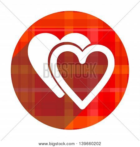 love red flat icon isolated on white background