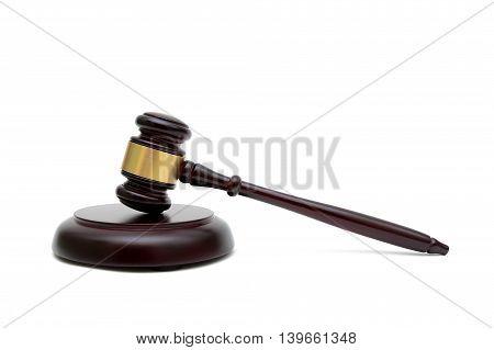 judges gavel isolated on white background. horizontal photo.