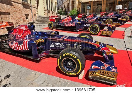 BRISIGHELLA, RA, ITALY  - JULY 17: Formula One racing cars of the Italian team Toro Rosso exposed during