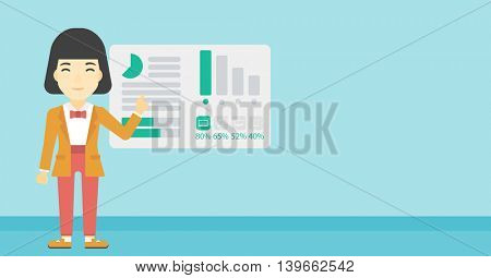 Business woman pointing at charts on a board during business presentation. Woman giving a business presentation. Business presentation in progress. Vector flat design illustration. Horizontal layout.