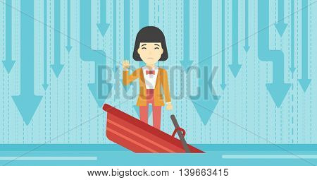 An asian business woman standing in a sinking boat and asking for help. Concept of business bankruptcy. Vector flat design illustration. Horizontal layout.