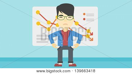 An asian young businessman showing his epmty pockets on the background of board with decreasing chart. Bankruptcy concept. Vector flat design illustration. Horizontal layout.