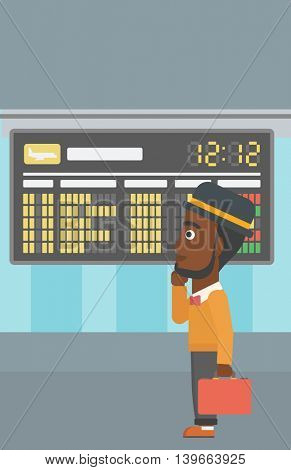 An african-american man with a briefcase looking at departure board at the airport. Passenger standing at the airport in front of departure board. Vector flat design illustration. Vertical layout.