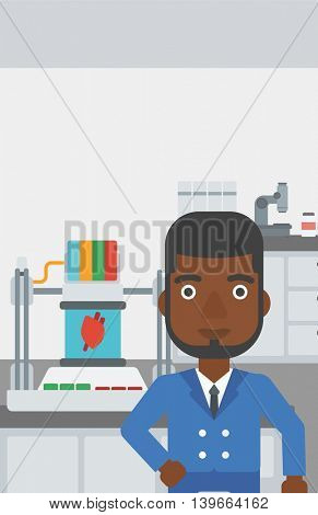 An african-american man standing near 3D printer making a heart on the background of laboratory. Man working with 3D printer. Vector flat design illustration. Vertical layout.