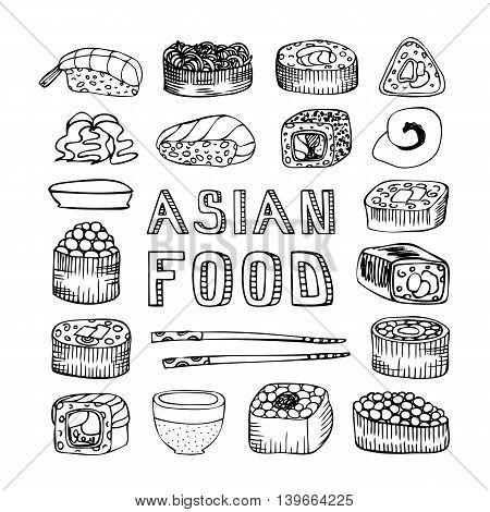 Asian food. Asian kitchen. Asian food menu for restaurant, cafe. Asian food menu on chalkboard. Vector illustration