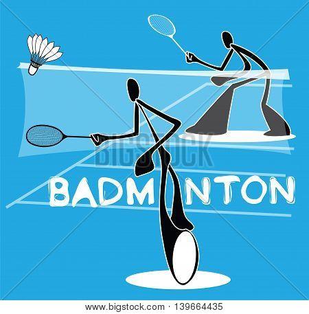 Badminton Shadow Man Cartoon sport acting symbol individual Sport Games design