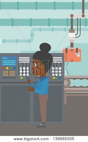 An african-american woman working on control panel. Woman pressing button at control panel in plant. Engineer standing in front of the control panel. Vector flat design illustration. Vertical layout.