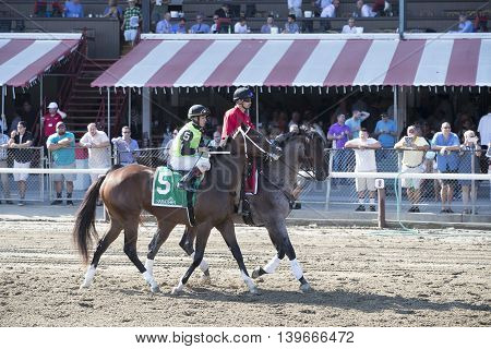 SARATOGA SPRINGS, NY - July 22: Made Me Shiver in the Post Parade for the 98th runniing of the Schulerville Stakes for 2 year old Fillys on July 22 in Saratoga Springs, NY.
