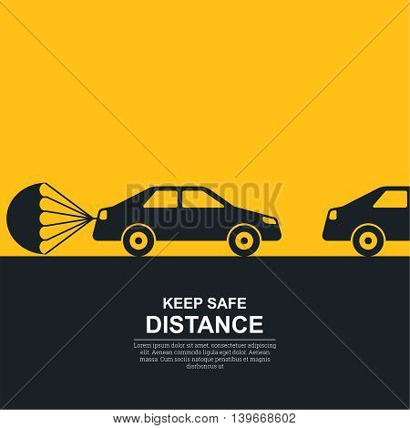 The parachute attached to the car symbolizing about increase in a distance between vehicles. The concept of safety and fail-safety on roads observance of the traffic regulation an instruction to drivers. A vector illustration in flat style.