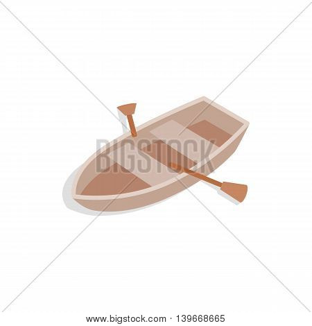 Boat with oars icon in isometric 3d style isolated on white background. Maritime transport symbol