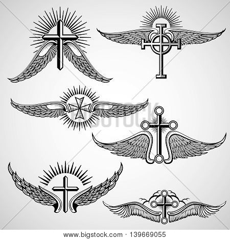 Vintage cross and wings tattoo vector elements. Vintage tattoo with wing, illustration tattoo with cross