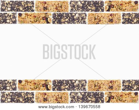Healthy granola. Fruit and nut munchies bars isolated on white background