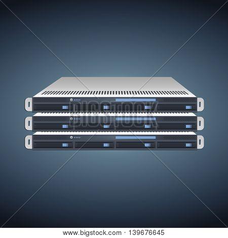 Vector Flat Illustration of a Three Server Units