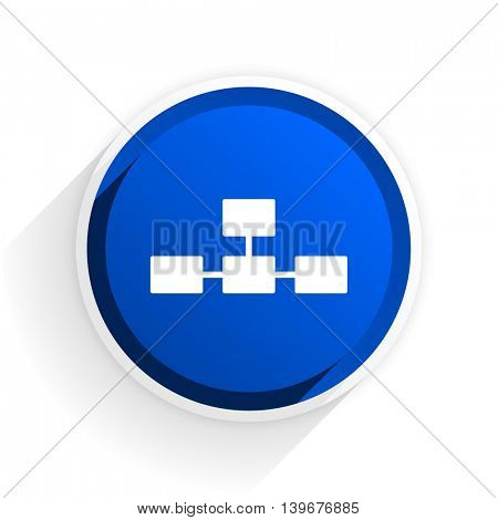 database flat icon with shadow on white background, blue modern design web element