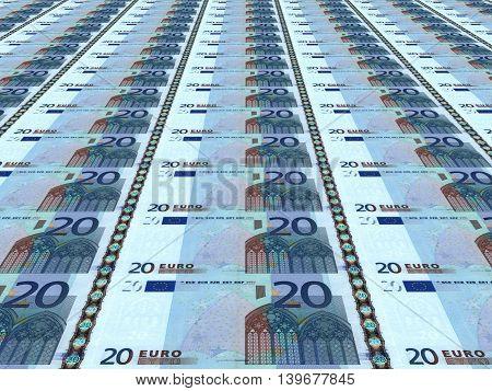 A lot of euro background. Twenty euros. 3D illustration.