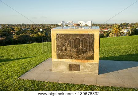FREMANTLE,WA,AUSTRALIA-JUNE 25,2016: War Memorial with symbolic chain and bronze carving set on Monument Hill in Fremantle, Western Australia.