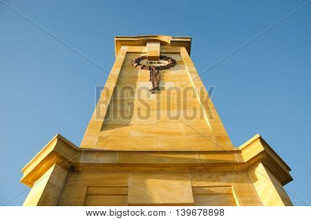FREMANTLE,WA,AUSTRALIA-JUNE 25,2016: Perspective from below of the Fallen Sailors and Soldiers Memorial at Monument Hill in Fremantle, Western Australia.