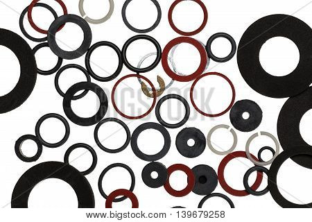 Background from rubber plastic metal seals for sanitary uses