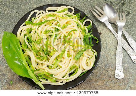 Spaghetti Pasta With Wild Garlic